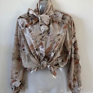 Vintage polyester bow top size Med